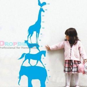 РАСПРОДАЖА! Виниловая наклейка - Ростовая линейка детская из животных - Интерьер, декор