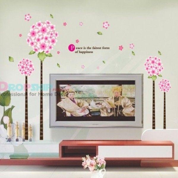 Виниловая наклейка - Розовые цветочки