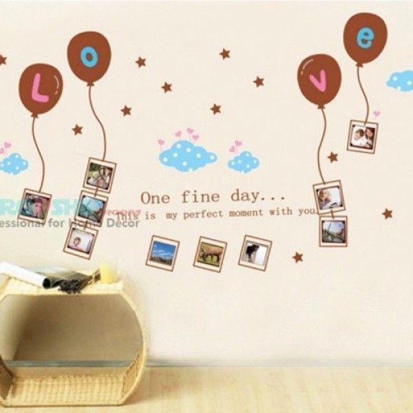 Виниловая наклейка - Рамочки под фото, с шариками Love