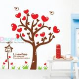 Vinyl sticker - Tree with red hearts