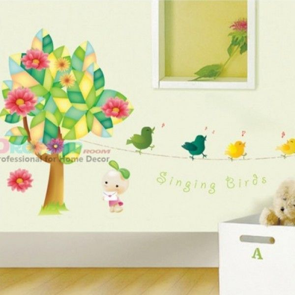 Vinyl decal sticker - colorful tree with birds singing