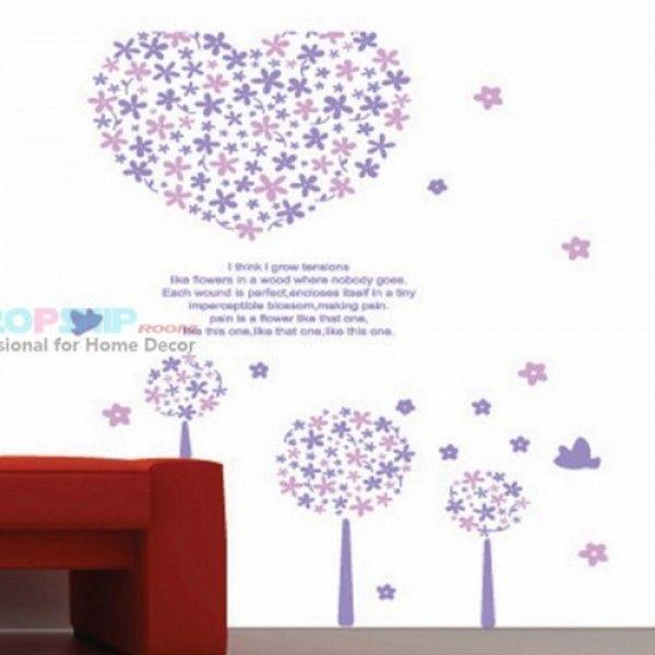 Виниловая наклейка - Фиолетовое цветочное сердце