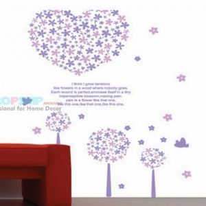 SALE! Vinyl decal - Purple flower heart