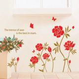 РАСПРОДАЖА! Виниловая наклейка - Красные цветки по оптовой цене