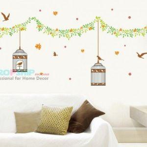РАСПРОДАЖА! Виниловая наклейка - Клетки для птиц - Интерьер, декор