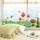 Виниловая наклейка - Травка, цветочки, бабочки
