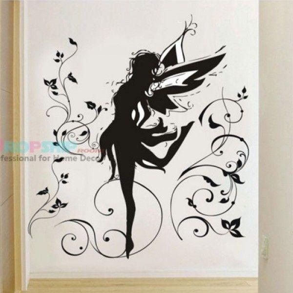 Виниловая наклейка - Волшебная девочка-бабочка