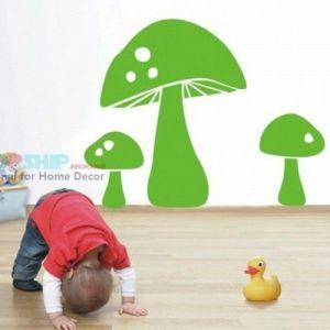 РАСПРОДАЖА! Виниловая наклейка - Зеленые грибы - Интерьер, декор