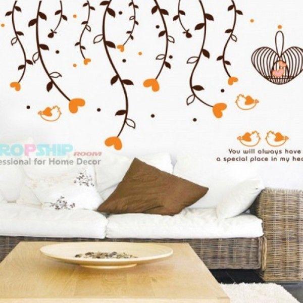 Виниловая наклейка - Оранжевые сердечки