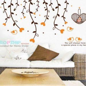 РАСПРОДАЖА! Виниловая наклейка - Оранжевые сердечки - Интерьер, декор