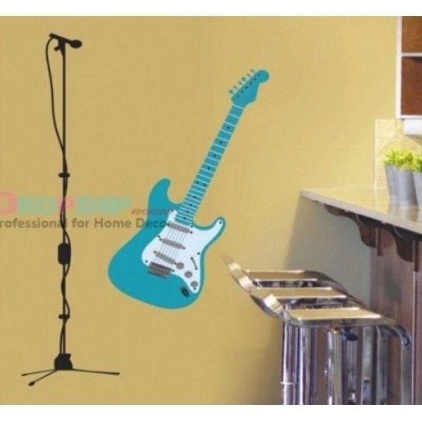Виниловая наклейка - Голубая гитара с микрофоном