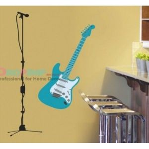 SALE! Vinyl decal - Blue guitar with microphone