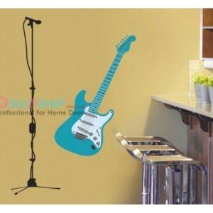 РАСПРОДАЖА! Виниловая наклейка - Голубая гитара с микрофоном - Интерьер, декор