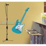 РАСПРОДАЖА! Виниловая наклейка - Голубая гитара с микрофоном по оптовой цене
