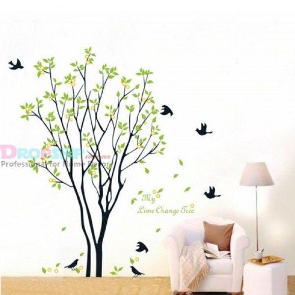 Виниловая наклейка - Дерево с листиками и птичками