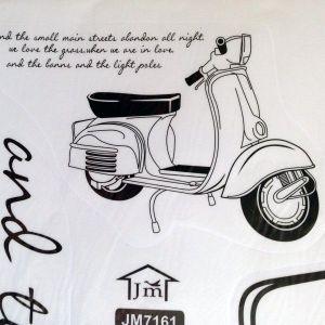 РАСПРОДАЖА! Виниловая наклейка - Скутер и надпись - Интерьер, декор