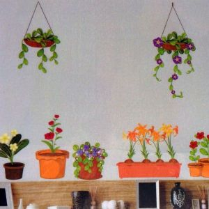 РАСПРОДАЖА! Виниловая наклейка - Вазоны и цветы - Интерьер, декор
