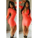 Клубное оранжевое платье