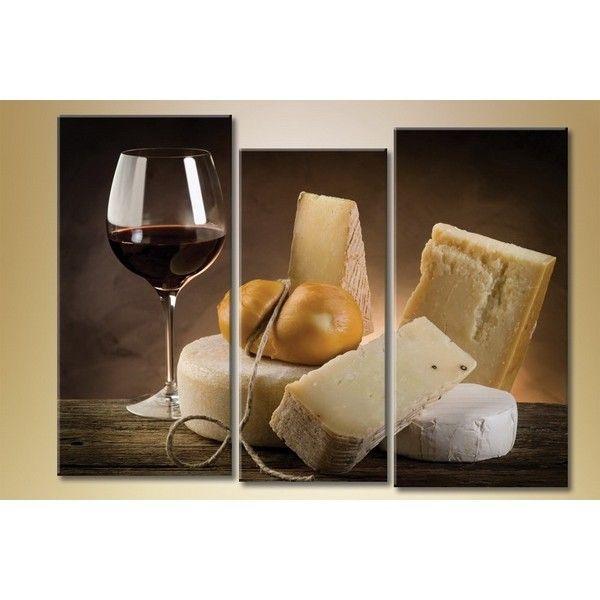 Модульная картина из 3 частей, сыр, 140х90