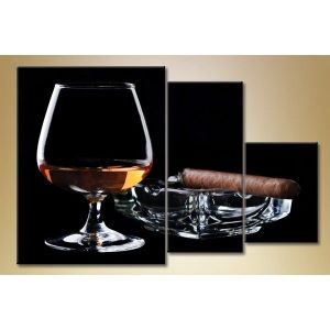 Modular picture in 3 parts, a glass of whiskey, 140С…90. Артикул: IXI26451