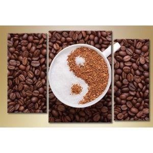 Модульная картина из 3 частей, кофе инь-янь, 140х90 - Интерьер, декор