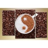 Modular picture in 3 parts, coffee Yin Yang, 140С…90