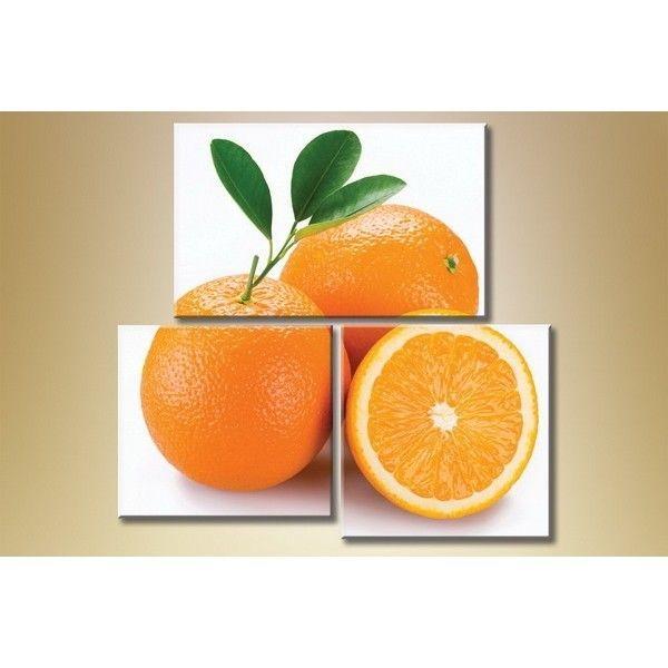 Модульная картина из 3 частей, апельсины, 120х120