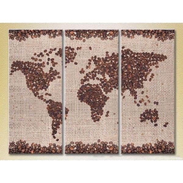 Модульная картина из 3 частей, карта мира, 140х90