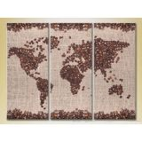 Modular picture in 3 parts, world map, 140С…90