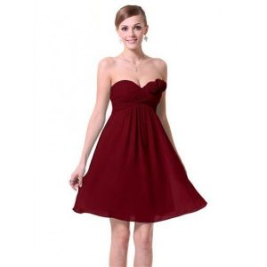 Dress with roses without straps Burgundy