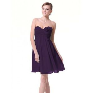Dress with roses without straps purple
