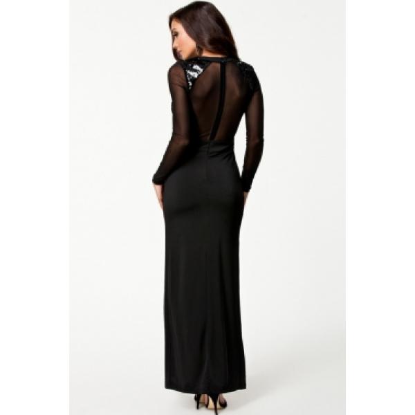 Платье с пайетками с длинными просвечивающимися рукавами