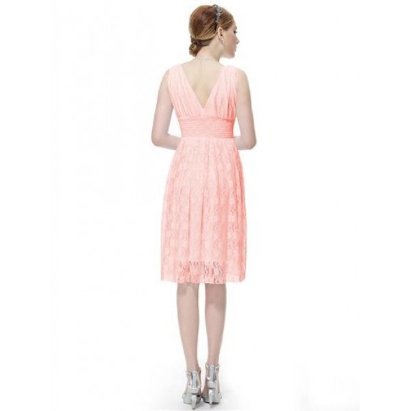Lace dress with V-neck pink. Артикул: IXI26500