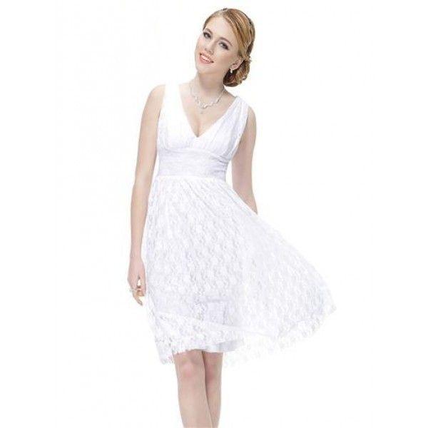 Кружевное белое платье с V-образным декольте