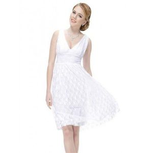 Lace white dress with V neckline