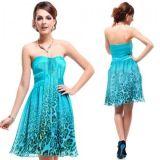 Леопардовое платье с розой на талии голубое по оптовой цене
