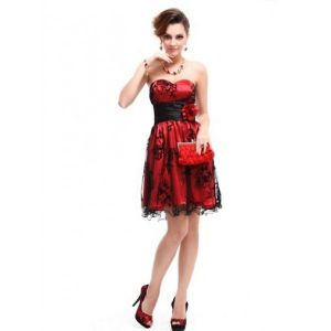 Dress without straps with lace print red