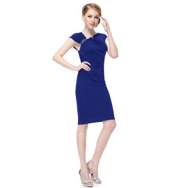 Облегающее платье с брошью синее