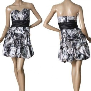 Bandeau dress with newspaper print