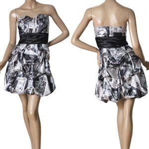 Bandeau dress with newspaper print. Артикул: IXI26745