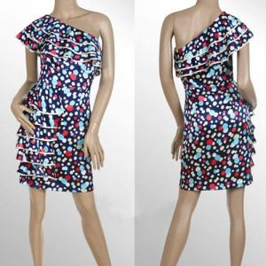 РАСПРОДАЖА! Разноцветное платье на одно плече с рюшами