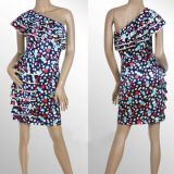 Colorful party dress one shoulder ruffle