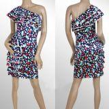 РАСПРОДАЖА! Разноцветное платье на одно плече с рюшами по оптовой цене