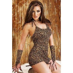 Леопардовый пеньюар с перчатками - Пеньюары