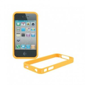 РАСПРОДАЖА! Protective Plastic Side Border Frame with Transparent Back Skin Shell for Iphone 4G (Orange)