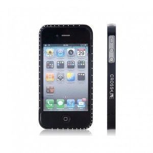 РАСПРОДАЖА! Metal Frame with Crystal Decoration for iPhone 4/ 4S (Black)