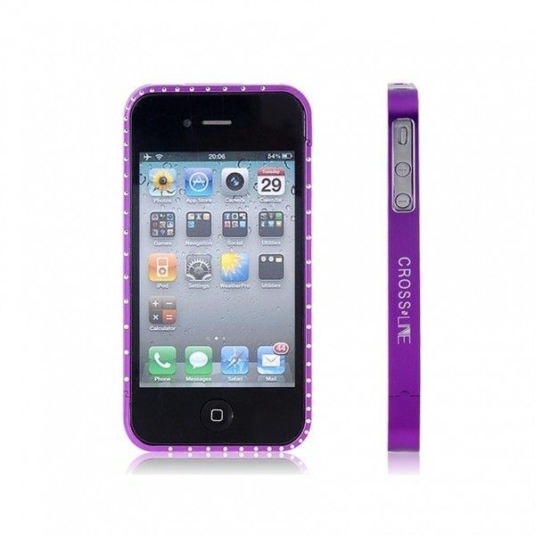 РАСПРОДАЖА! Metal Frame with Crystal Decoration for iPhone 4/ 4S (Purple)