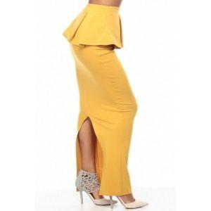 Желтая макси юбка с баской - Юбки и подъюбники