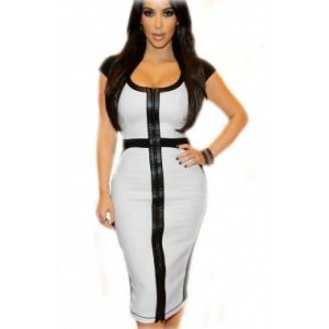 Elegant black and white MIDI dress