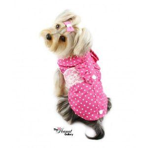 РАСПРОДАЖА! Рубашка классическая с кружевом для собак розовая - Зоо товары